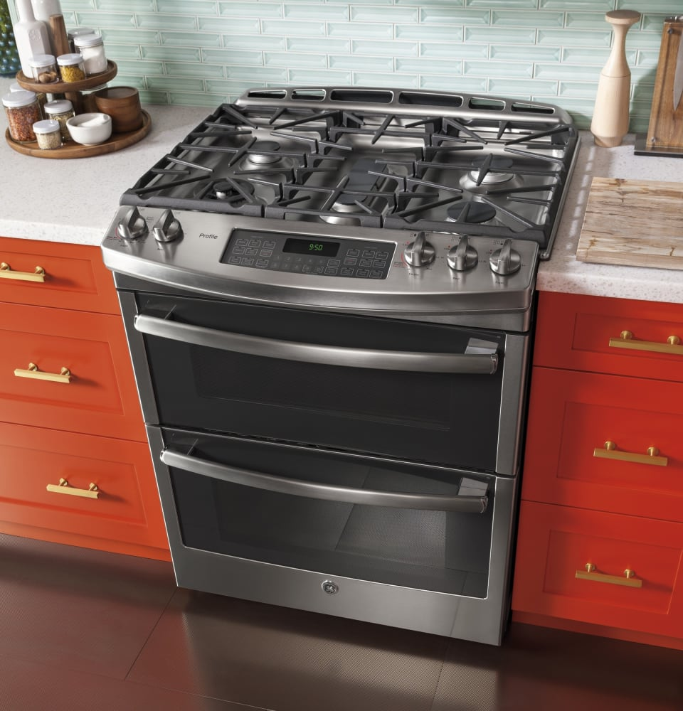 ge pgs950sefss 30 inch slide in double oven gas range with convection simmer burner reversible. Black Bedroom Furniture Sets. Home Design Ideas