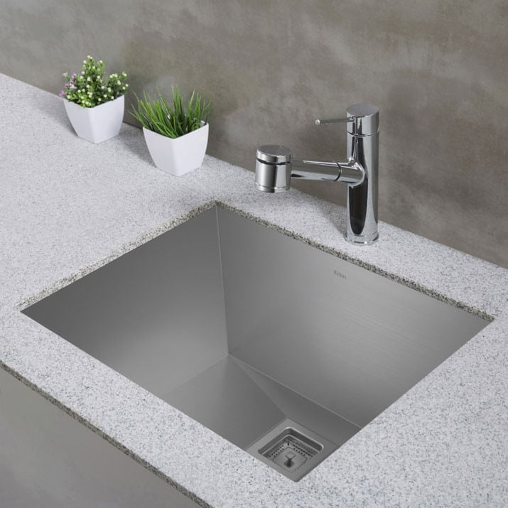 Kraus KHU24L 24 Undermount Single Bowl Stainless Steel Sink with
