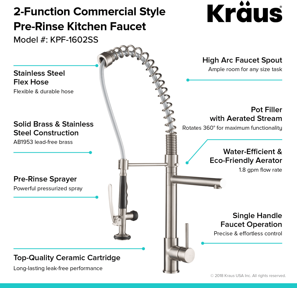 Kraus Kpf1602ss 2 Function Commercial Style Pre Rinse Kitchen Faucet
