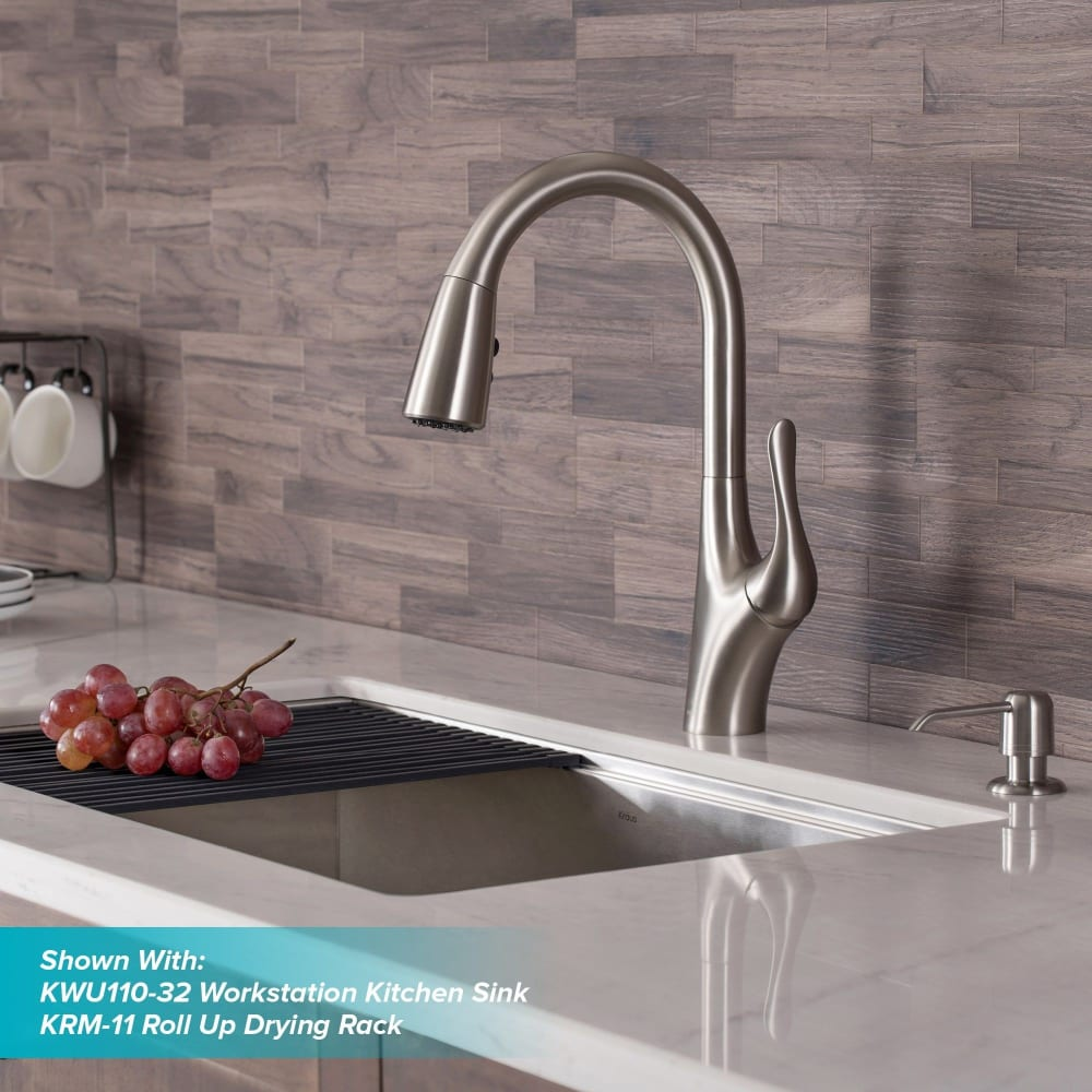 Kraus Kpf1674sfs Single Handle Kitchen Faucet With 1 8 Gmp Flow Rate Reach Technology Dual Function Sprayhead Quick Connect Hose 360 Degree Swivel And Ada Complaint