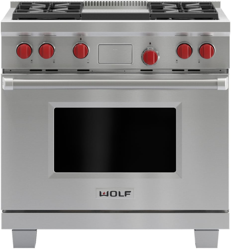 Wolf DF364G 36 Inch Pro-Style Dual-Fuel Range with 4 Dual-Stacked ...