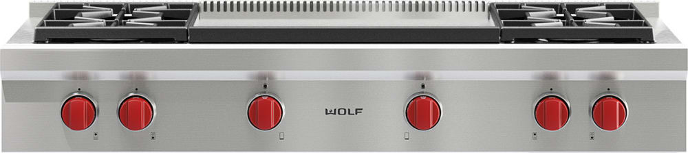 Wolf Srt484dg 48 Inch Pro Style Gas Rangetop With 4 Dual