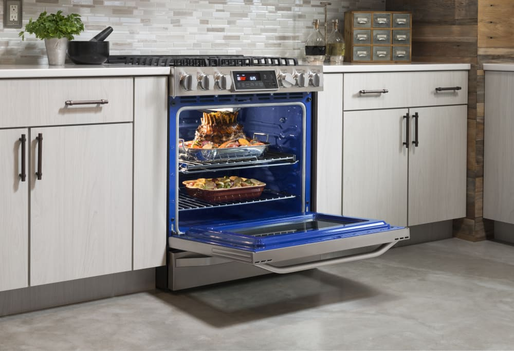 In gas range with 6 3 cu ft probake convection 5 sealed burners