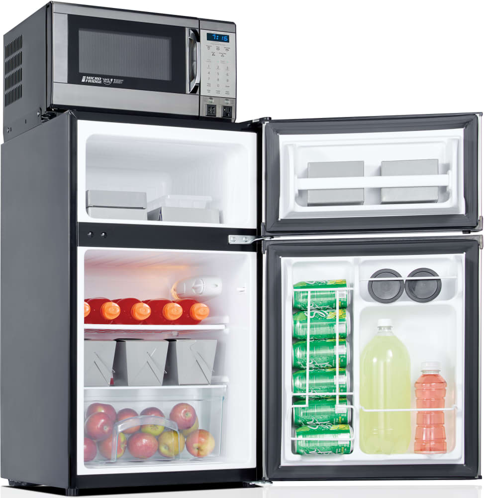 Compact Refrigerator With 700 Watt Microwave (Stainless MicroFridge  31MF47D1S   1 Shelf, 2 Door Bins, CanStor Can Dispenser, 0°