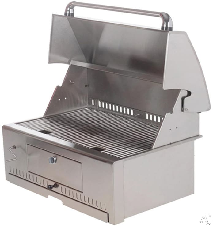 vintage vcg30 30 inch builtin charcoal grill with 476 sq in cooking surface 188 gauge stainless steel adjustable charcoal tray and ash - Charcoal Grills