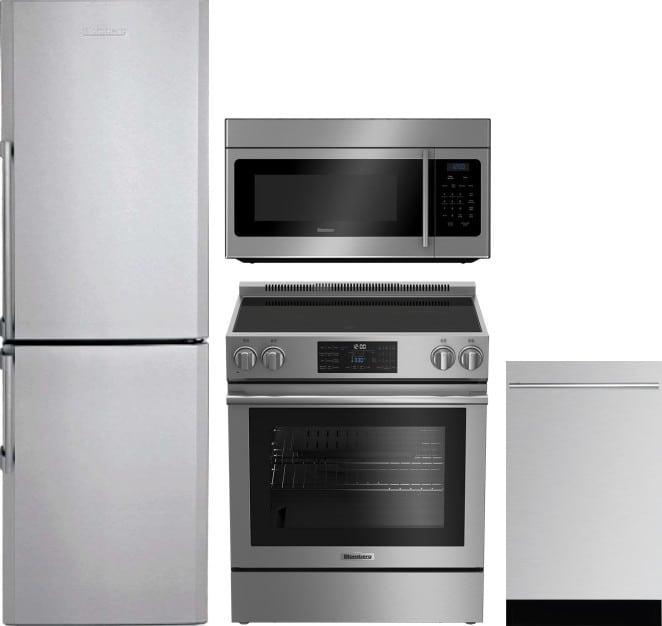 blomberg blreradwmw17 4 piece kitchen appliances package with bottom freezer refrigerator. Black Bedroom Furniture Sets. Home Design Ideas