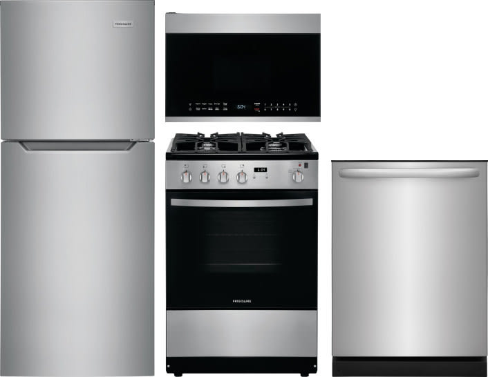 Frigidaire Frreradwmw12011 4 Piece Kitchen Appliances Package With Top Freezer Refrigerator Gas Range Dishwasher And Over The Range Microwave In Brushed Stainless Steel