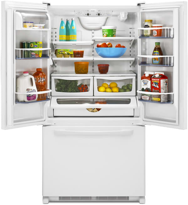open refrigerator. amana aff2534fes - featured view open refrigerator