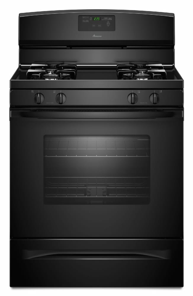 Amana Agr5630bdb 30 Inch Freestanding Gas Range With 4 Sealed Burners 5 0 Cu Ft Capacity Self Cleaning Oven Extra Large Oven Window Storage Drawer And Easy Touch Electronic Controls Black