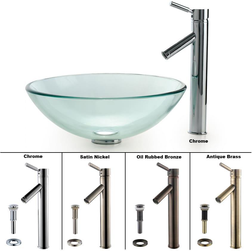 Kraus Cgv10112mm1002ch 16 5 Inch Clear Glass Vessel Sink