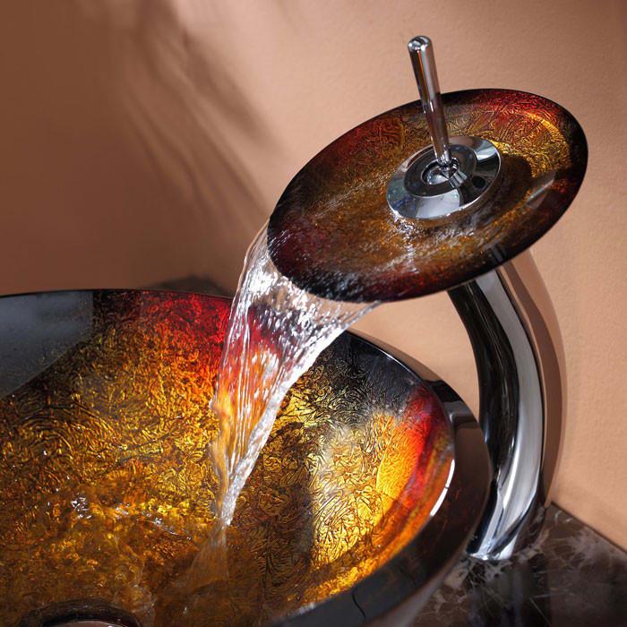 Kraus CGV68019MM10CH 17 Inch Mercury Glass Vessel Sink with ...