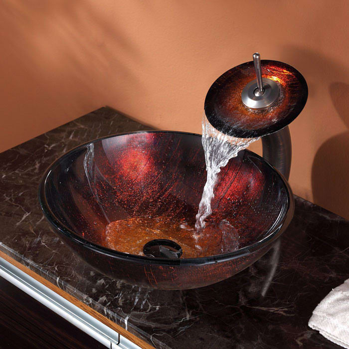 Incroyable ... Sink With Waterfall Faucet Kraus Copper Series CGV68212MM10ORB   Angled  View ...