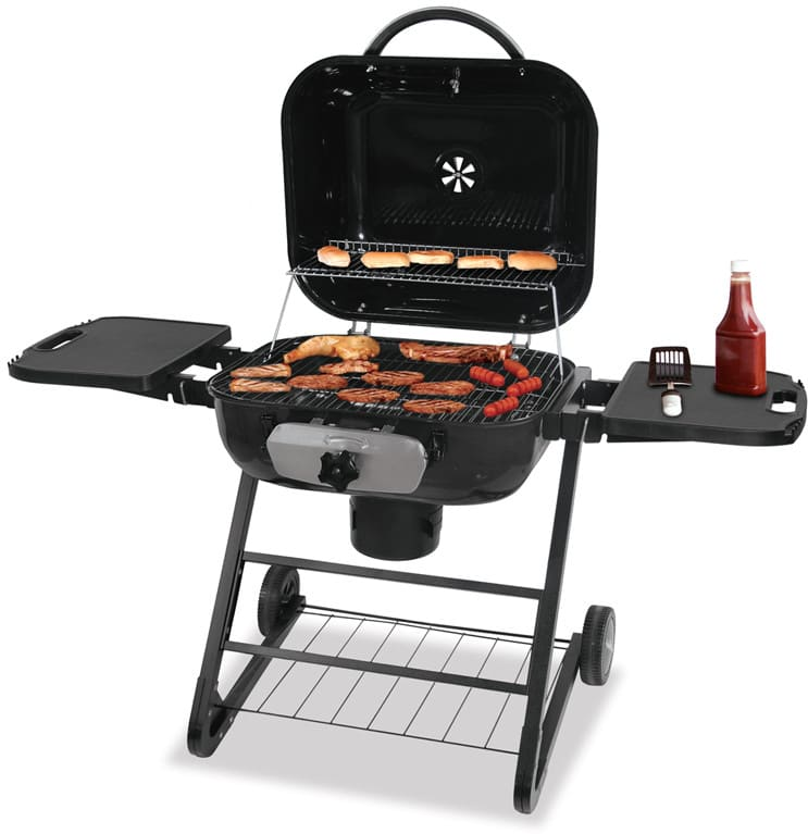 Blue Rhino CBC1255SP 26 Inch Freestanding Charcoal Grill With 687 Sq. In.  Cooking Area, Warming Rack, Hinged Lid, Patented Adjustable Grid And ...