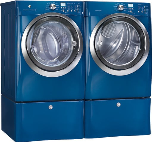 electrolux iqtouch series eimgd55imb shown with matching washer on pedestals