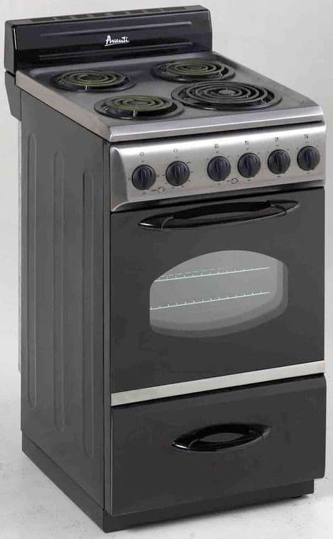 avanti er2002css 20 inch freestanding electric range with 4 coiled elements manual clean oven. Black Bedroom Furniture Sets. Home Design Ideas