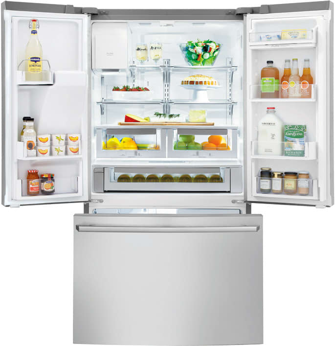 electrolux french door fridge electrolux wavetouch series ew23bc85ks interior view french door