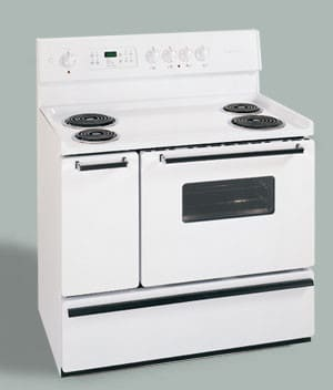 Frigidaire Fef450bw 40 Inch Freestanding Electric Range With Self Cleaning Primary Oven Porcelain Burner Bowls Towel Bar Door Handles White