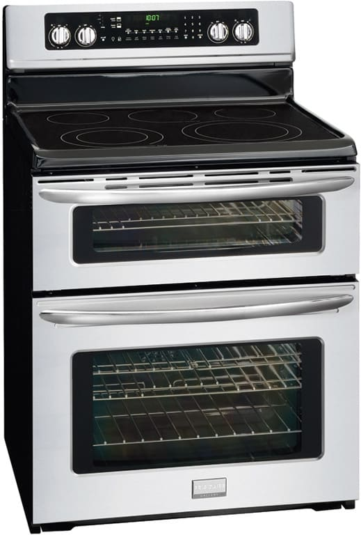 frigidaire gallery series fgef304dkf shown at angled view - Double Oven Electric Range