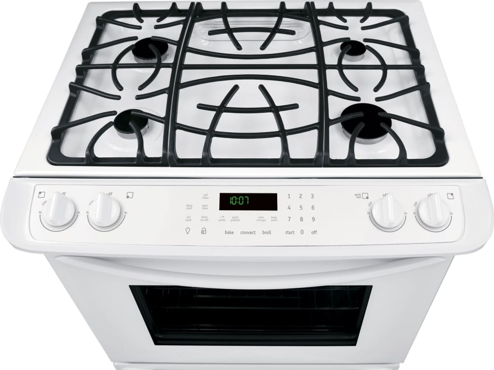 Frigidaire fggs3065pw 30 inch slide in gas range with true convection quick preheat self clean - Clean gas range keep looking new ...