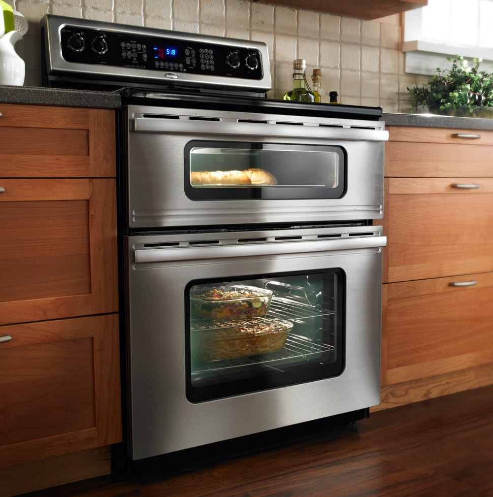 Whirlpool Gge350lwb 30 Inch Freestanding Electric Range With 4 3 Cu  Ft  Lower Oven Capacity