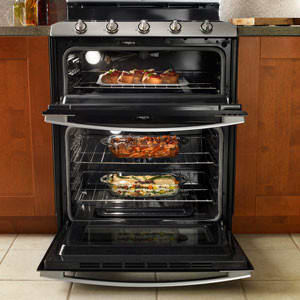 whirlpool gge388lx 30 inch electric double oven range with 4 radiant elements warm zone 42 cu ft lower oven capacity energy save mode