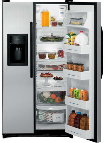 GE GSL25JFXLB 25 cu. ft. Side by Side Refrigerator with 3 Glass Shelves,  Gallon Door Storage, 2 Stack Drawer System and External Water/Ice Dispenser  and Electronic Temperature Controls: CleanSteelAJ Madison