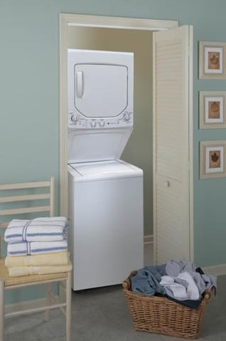 Ge Gtup240emww 24 Inch Electric Laundry Center With 2 2 Cu