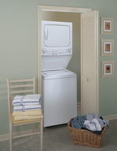 Ge Gtup270emww 27 Inch Electric Laundry Center With 3 3 Cu
