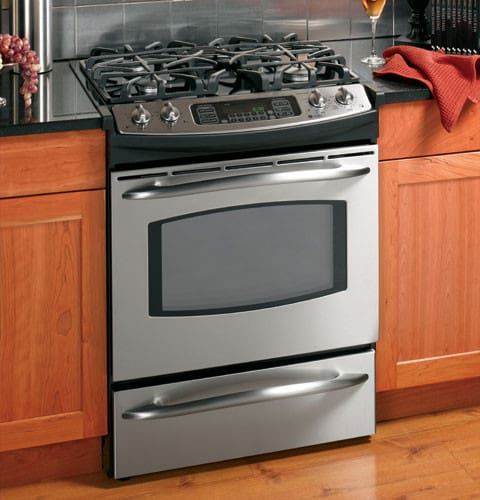 ge jgs968sekss 30 inch slide in gas range w two speed gas convection oven convection bake. Black Bedroom Furniture Sets. Home Design Ideas