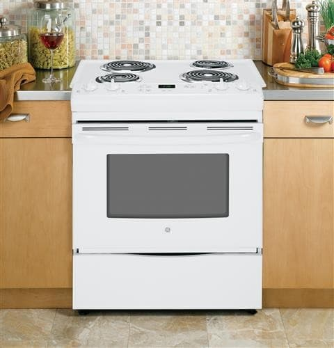 Ge Jss28dfww 30 Inch Slide In Electric Range With 4 Coil