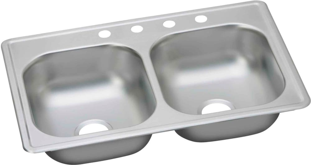 Elkay K233192 33 Inch Drop In Double Bowl Stainless Steel Sink With