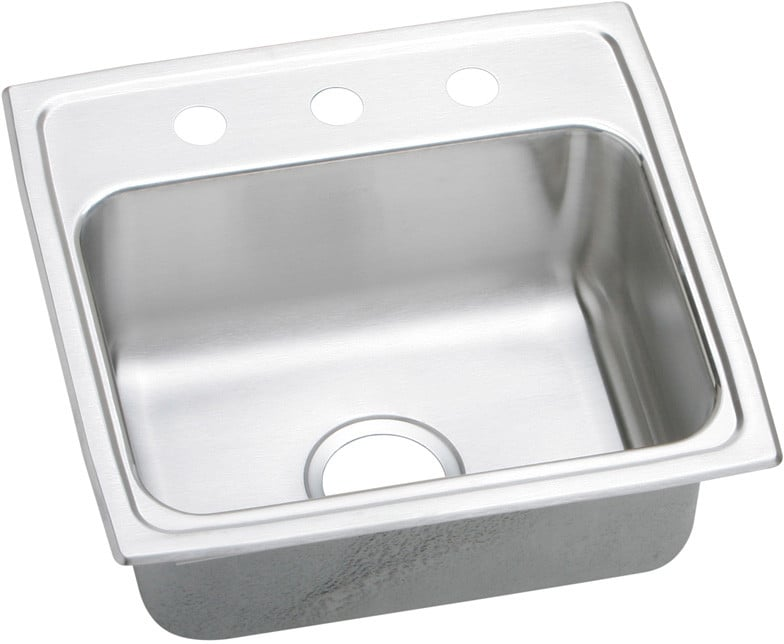 Elkay Lrad1918551 19 Inch Top Mount Single Bowl Stainless Steel Sink With 18 Gauge 5 1 2 Inch Bowl Depth Self Rim Ada Compliant Off Centered Rear Drain And U Channel Type Mounting System 1 Hole