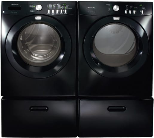 black washer and dryer. Frigidaire Affinity Series FAFW3511KB - Classic Black With Optional Pedestal Side-by-Side Matching Dryer Washer And D