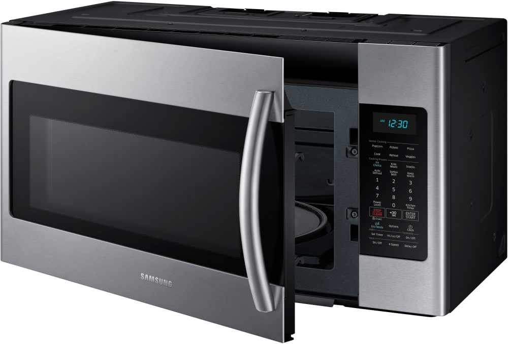 Samsung me18h704sfs 1 8 cu ft over the range microwave - Stainless steel microwave interior ...