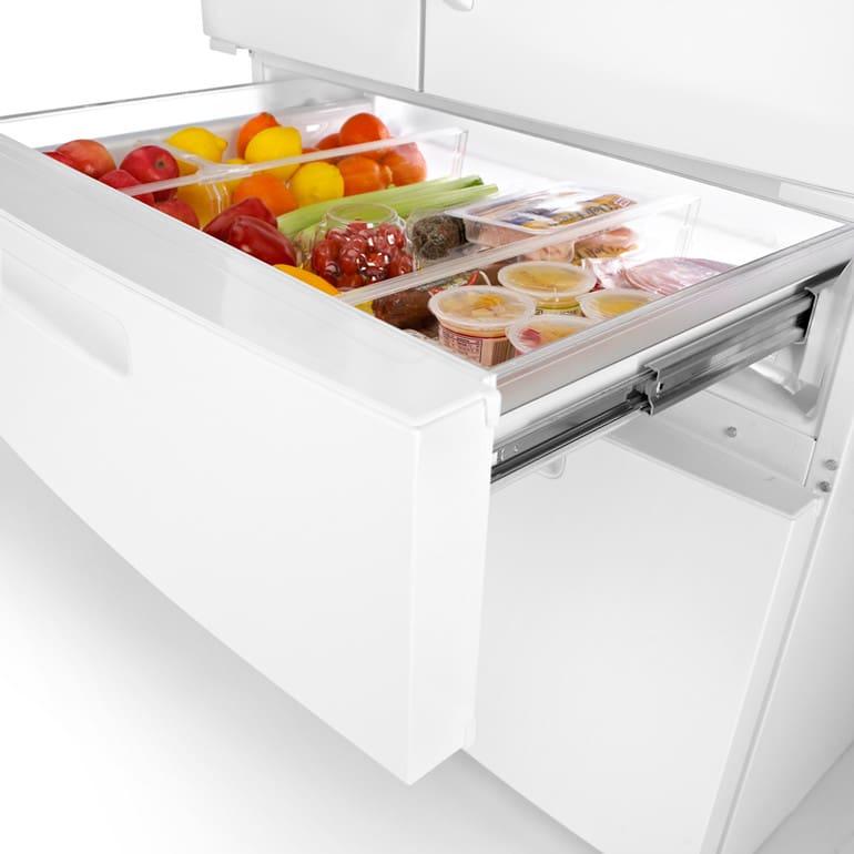 maytag mfx2571xem 25 cu ft french door refrigerator with 4 adjustable spill catcher shelves. Black Bedroom Furniture Sets. Home Design Ideas