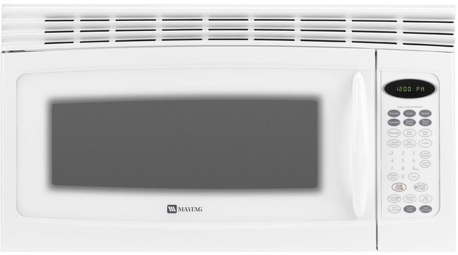 Maytag Mmv4205baw 2 0 Cu Ft Over The Range Microwave With 1 150 Cooking Watts 10 Program Levels Interior Cooking Shelf 220 Cfm Ventilation And Electronic Touch Controls White