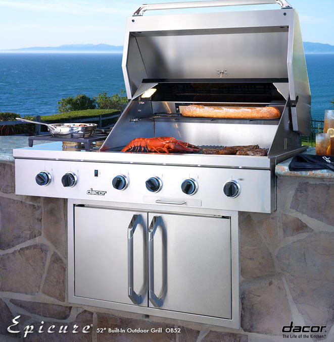 Outdoor Grill Lights Dacor ob52lp 52 inch built in gas grill with 3 20000 btu u shaped dacor ob52lp 52 inch built in gas grill with 3 20000 btu u shaped burners infrared rotisserie system halogen lights illumina burner controls and 2 workwithnaturefo