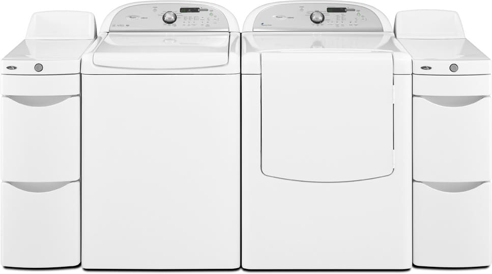 Whirlpool Cabrio Wed7300xw Laundry Pair With Storage Towers