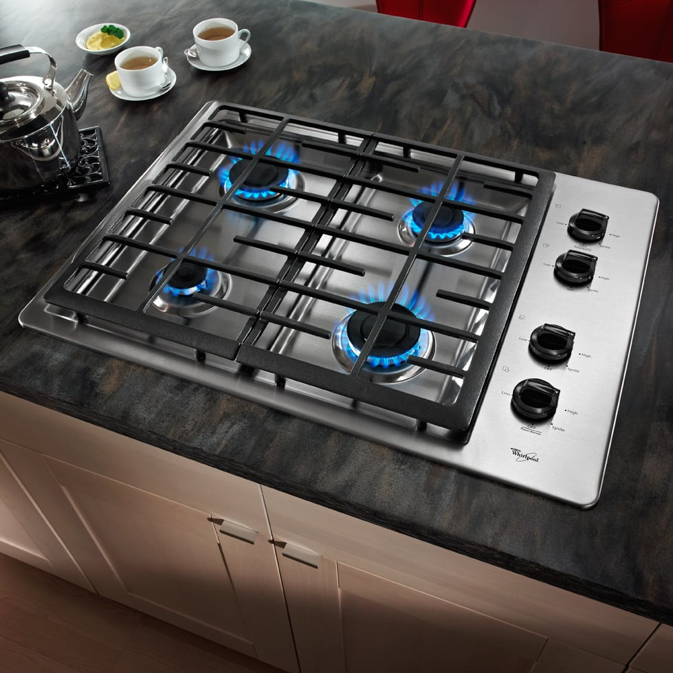 Whirlpool W5CG3024XS 30 Inch Gas Cooktop with 4 Sealed Burners ...