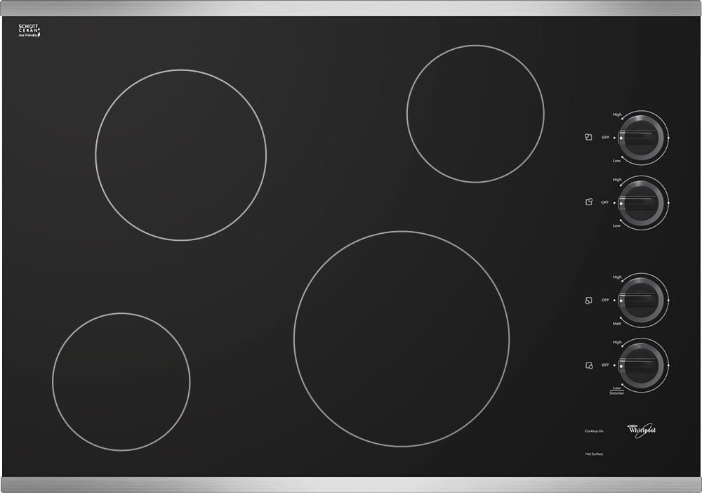 whirlpool w5ce3024xs 30 inch smoothtop electric cooktop with 4 radiant elements hot surface. Black Bedroom Furniture Sets. Home Design Ideas