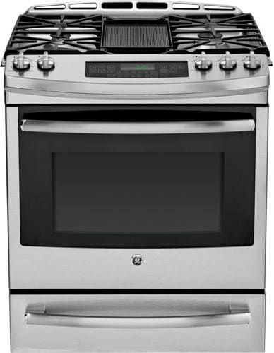 ge pgs920sefss 30 inch slide in gas range with gas convection self clean reversible grill. Black Bedroom Furniture Sets. Home Design Ideas