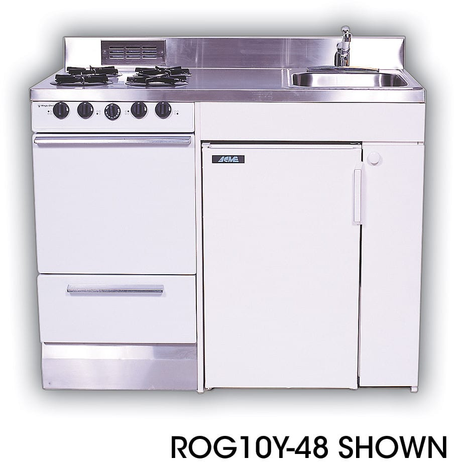 acme rog compact kitchen with stainless steel countertop 4 gas burners oven sink and compact refrigerator - Compact Kitchen Sink