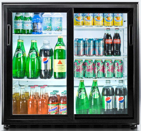 summit scr700 36 inch undercounter beverage merchandiser with 65 cu ft capacity adjustable wire shelves interior light factor installed lock and