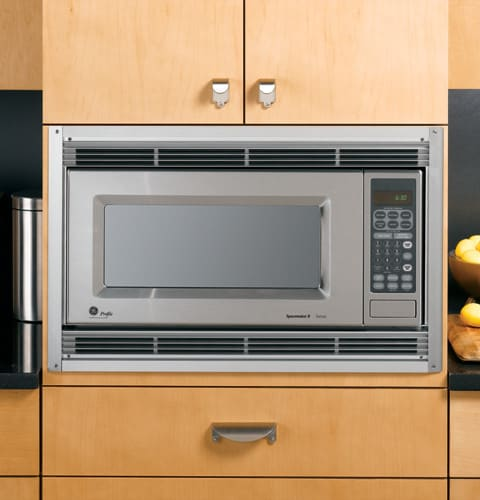 Ge jx827ss 27 inch built in trim kit for 9 cu ft for Microwave ovens built in with trim kit