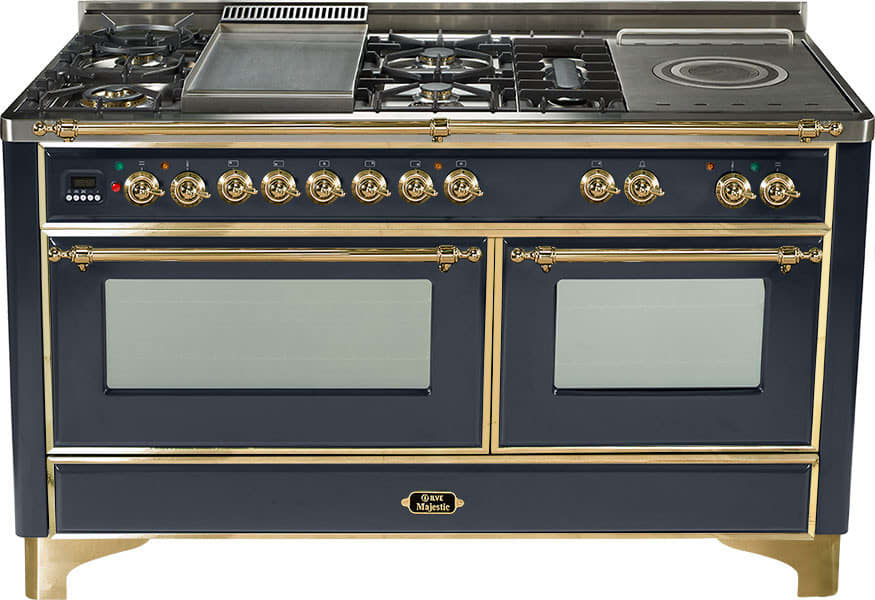 60 inch traditional style dual fuel range with 6 sealed burners