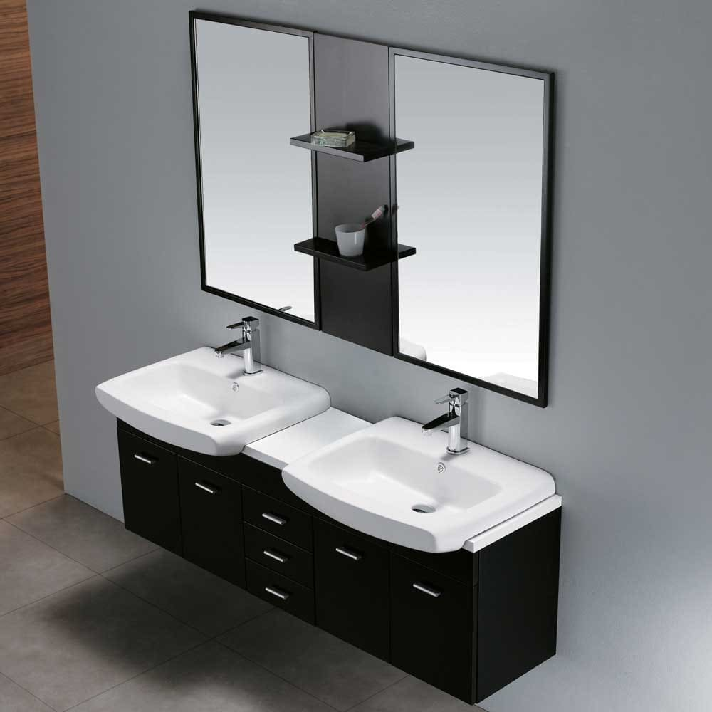 Vigo Industries VGK Inch Modern Double Bowl WallMount - Wall mount vanities for bathrooms