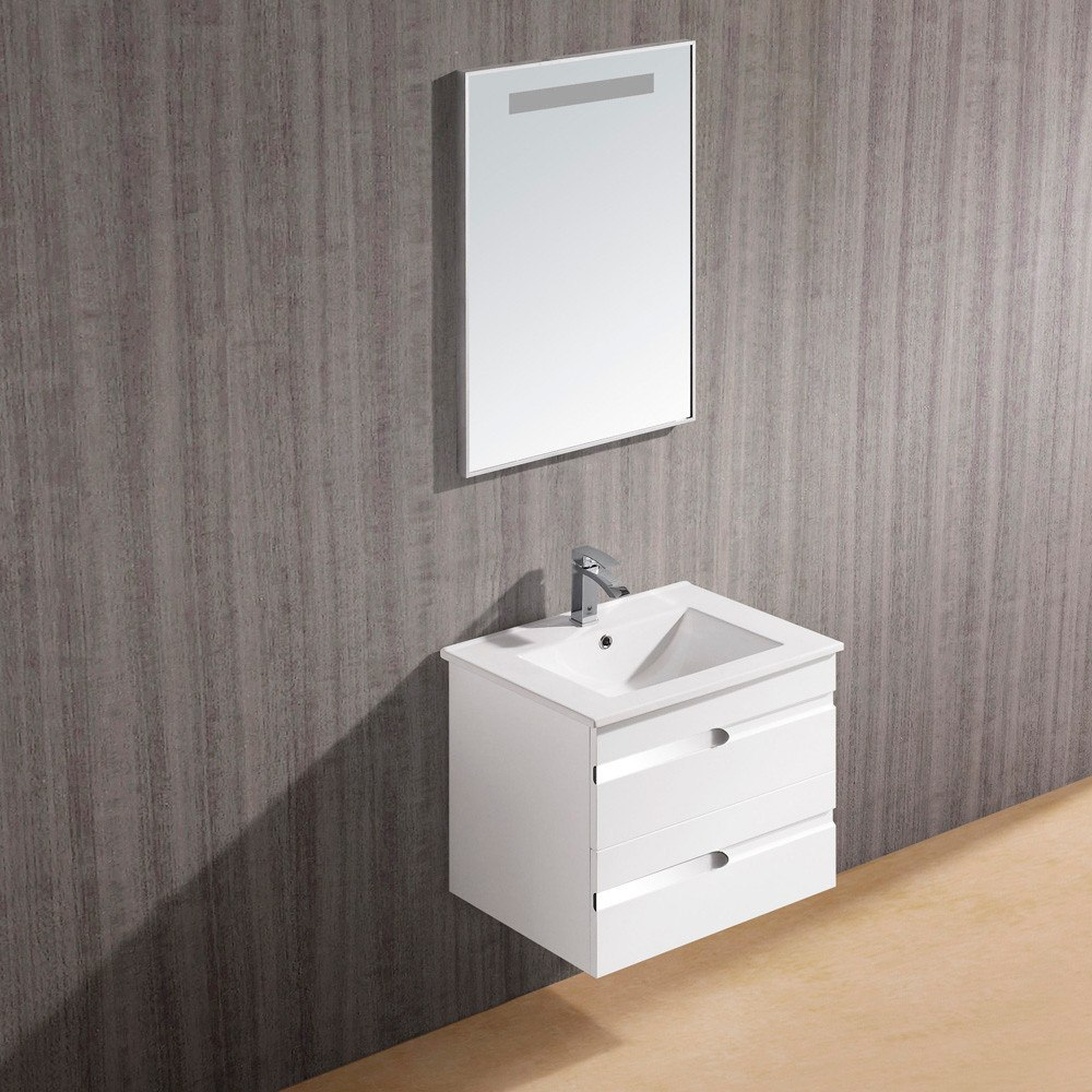 24 inch ethereal modern wall mount vanity with 2 stylish drawers