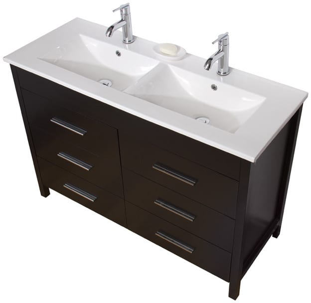 Vigo Industries Vg09042002k 48 Inch Maxine Double Vanity With 6 Soft Closing Drawers White Ceramic Countertop 2 Fully Integrated Sinks And Scratch