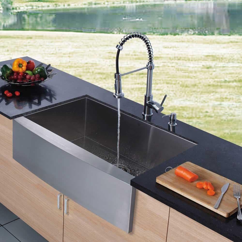 Pazo Industries Vg15002 Farmhouse Faucet Dispenser All: Vigo Industries VG15002 33 Inch Single Bowl Stainless