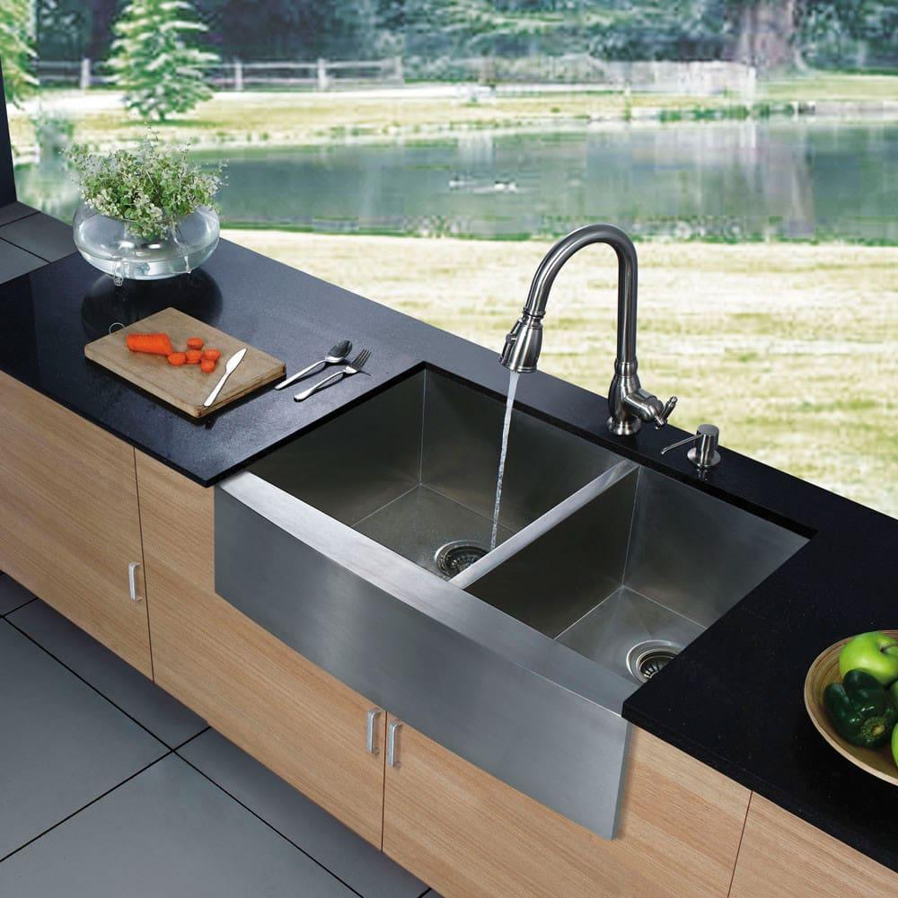 Amazing Kitchen 60 Inch Kitchen Sink Base Cabinet Idea: Vigo Industries VG3620BL 36 Inch Double Bowl Stainless